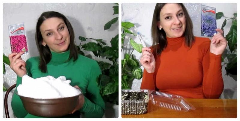 Всходы Лобелии (2 недели): Сравнение посева на снег и шприцем, моё мнение что лучше