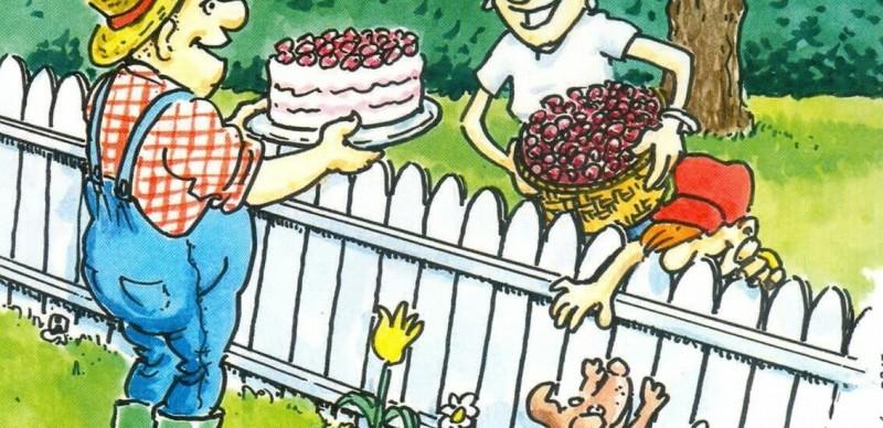 Слива у забора свисает на соседский огород - те претендуют на урожай